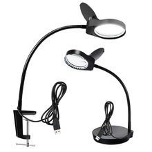 10X15X Lighted Magnifier with Stand & Clamp Bright LED Magnifying Desk Lamp for Reading, Close Work 5X , 3X and 10X