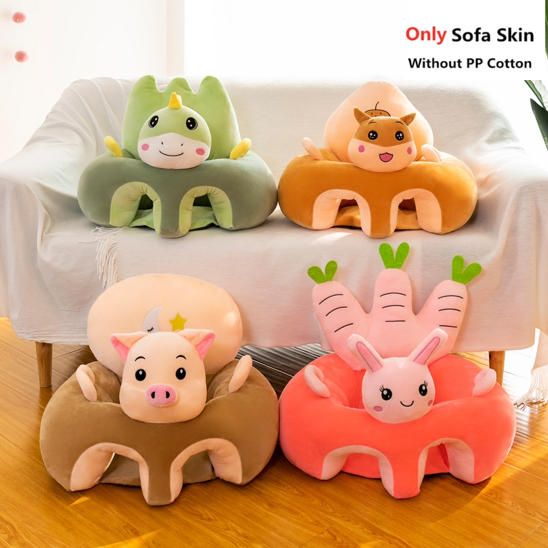 Capa de sofá do bebê dos desenhos animados bonitos aprendendo a sentar-se assento cadeira de alimentação caso crianças bebê sofá da pele infantil assento do bebê sofá sem algodão