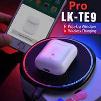 Lk te9 pro tws 1:1 auriculares bluetooth originales auriculares inalámbricos soporte para ventana carga inalámbrica auriculares deportivos pk i100