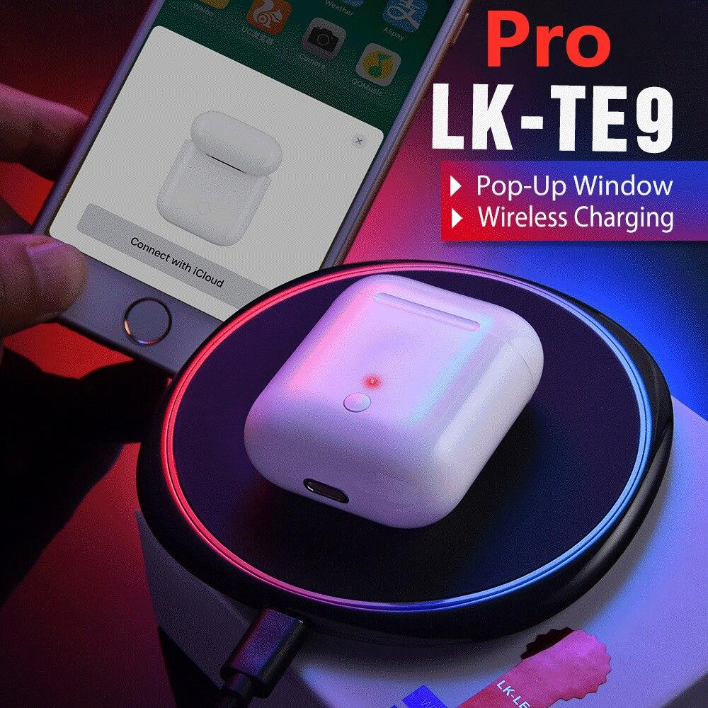 Lk Te9 Pro Tws Ecouteur Sans Fil Bluetooth Headphones Wireless Earphone Pop Up Window & Wireless Charge Sport Earbuds Pk I100