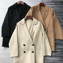 Women Coat Classic Wool and Cashmere Double-sided Woolen Coat