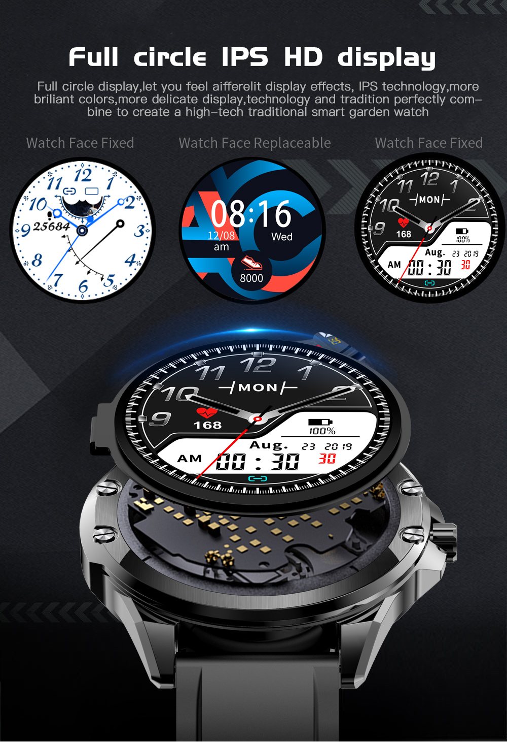 H162519fa471b433d8004bbf43bc83ab4F CYUC S11 Smart watch men HD Full round Screen IP68 Waterproof
