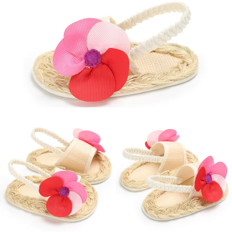 Newborn Baby Kid Girl Flowers Beach Shoes Toddler Soft Crib Sole Leather Sandals
