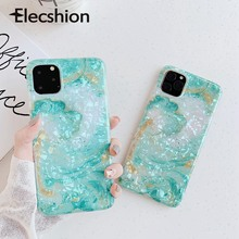 Glossy Case For iPhone 11 Pro Green Color Cover 5.8 6.1 6.5 Inch Luxury Cute Marble Shell Capa