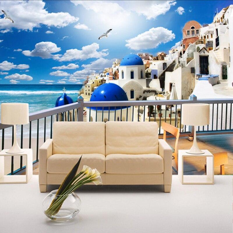 Custom Photo Wallpaper Bedroom Sofa TV Background Wallpaper Mural 3D Mediterranean Greece Style Seascape Wallpaper