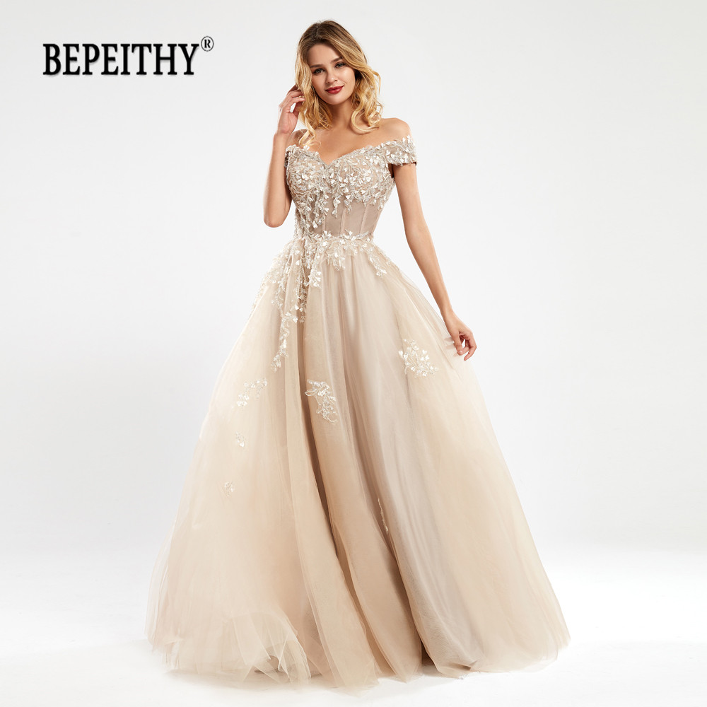 BEPEITHY Off The Shoulder Lace Bodice Evening Dresses 2020 Robe De Soiree Champange Vintage Reception Dress вечернее платье