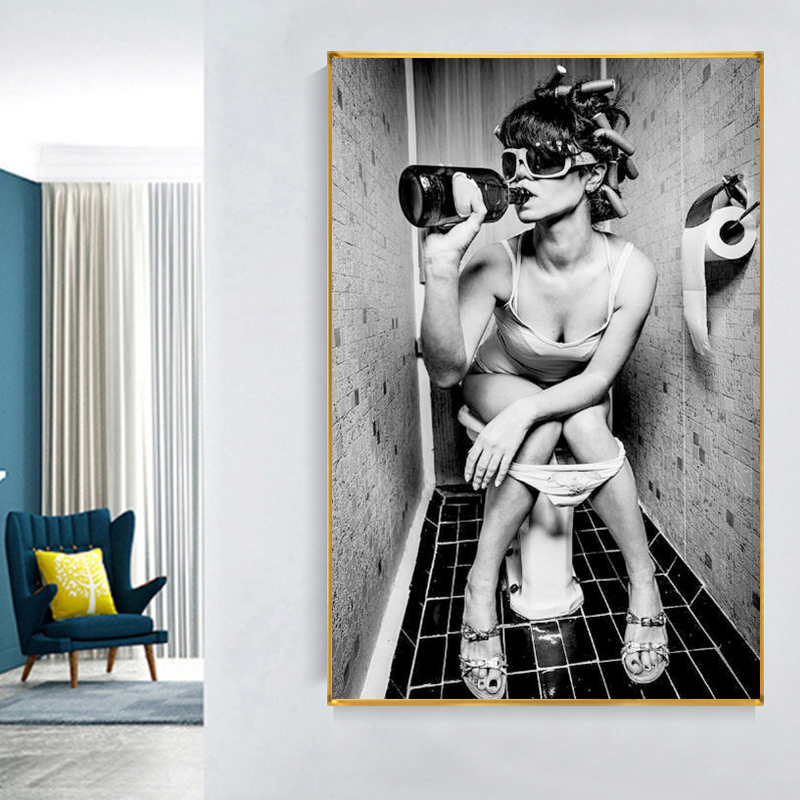 Sitting on The Toilet Black and White Sexy Woman Vintage Canvas Paintings Wall Art Picture Posters and Prints Home Decoration