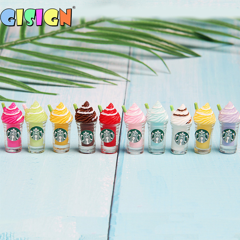 10Pcs Frappuccino Straw Cup Ice Cream Cup Addition For Fluffy Slime Charms Polymer Supplies Accessories Modeling Clay Kids Toys