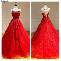 Baijinbai Tulle Red Evening Dresses Long Lace Ball Gown with Rhinestones Appliques Prom Gowns Corset Lace Up Back Formal Dress