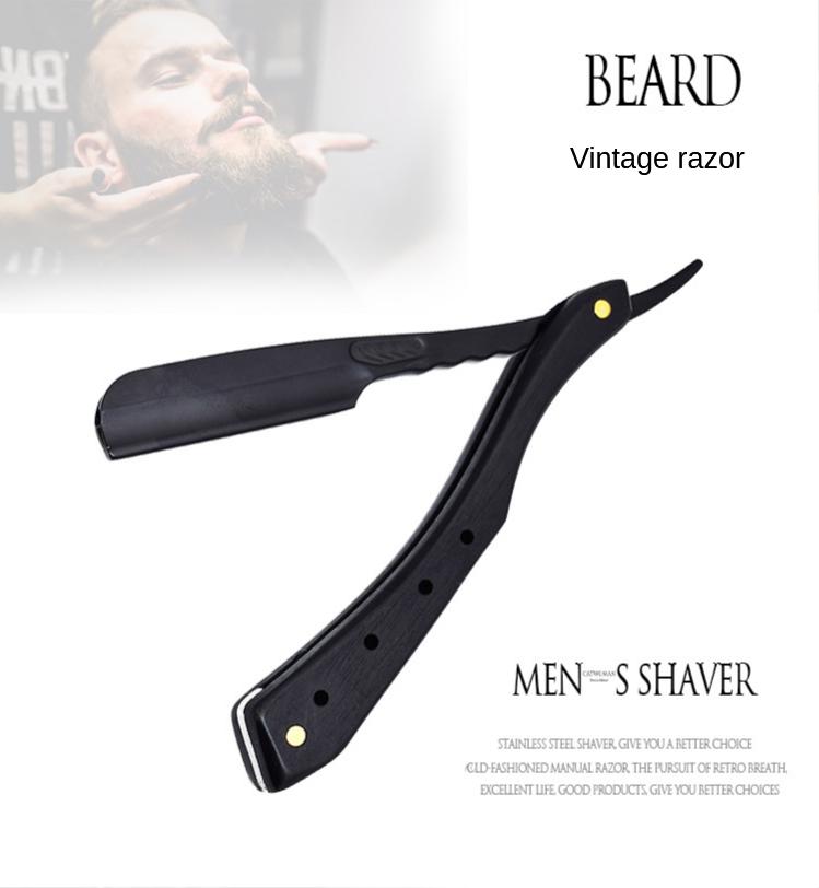 Aço inoxidável barbeador manual antiquado navalha de