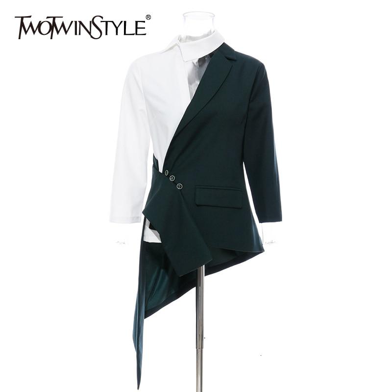 TWOTWINSTYLE Irregular Hit Color Women's Blazer Lapel Collar Three Quarter Sleeve Tunic Female Suit 2020 Fashion Clothing Tide