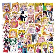 Autocollants dessin animé Sailor Moon pour fille, étiquette Scrapbook, jouet de vélo, pour ordinateur portable, valise, F4, 50 pièces