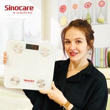 Sinocare Smart Balance de poids échelle de graisse corporelle Bluetooth 4.0 plancher graisse corporelle moniteur Balance Test 8 données corporelles imc santé LED affichage