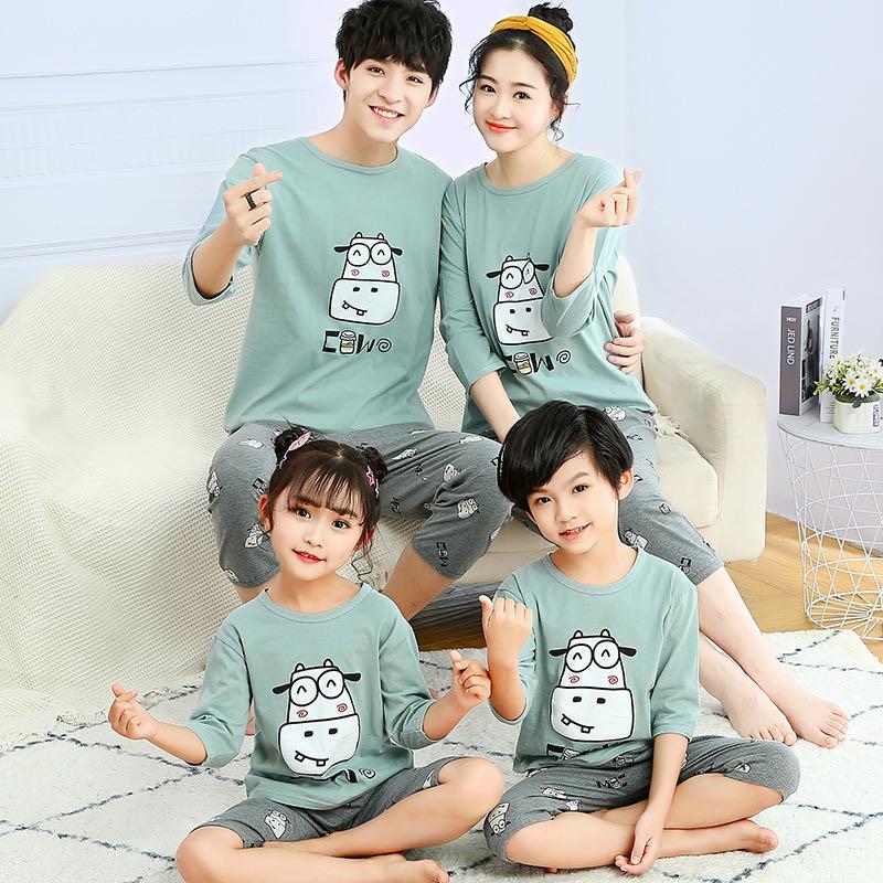 Parent- Child Wear Pajamas Summer Seven-Point Sleeve Children's Underwear Suit Home Service Men and Women Conditioned Clothes
