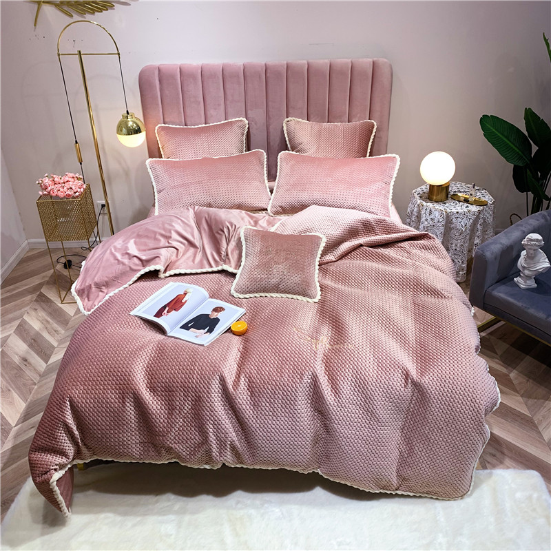 4/7pcs Luxury Solid Color Velvet Bedding Set Duvet Cover Sheet Pillowcase King Queen Twin Size White Gray Pink Bed Linen