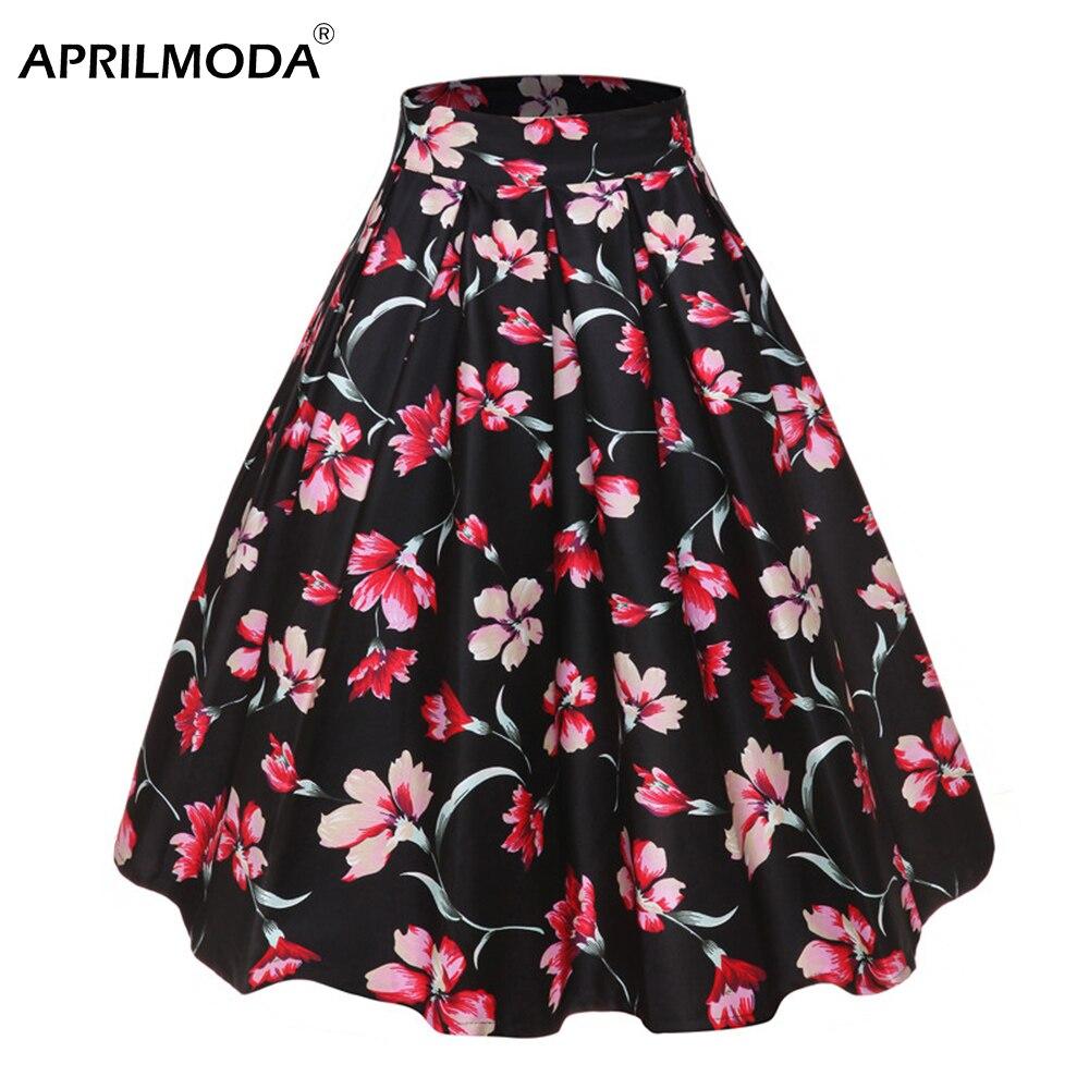 Ретро плиссированная юбка Jurken, высокая талия, цветочный принт, черная, 50 s, винтажная женская юбка, Скейтер, 50s 60 s, винтажные миди юбки, Прямая
