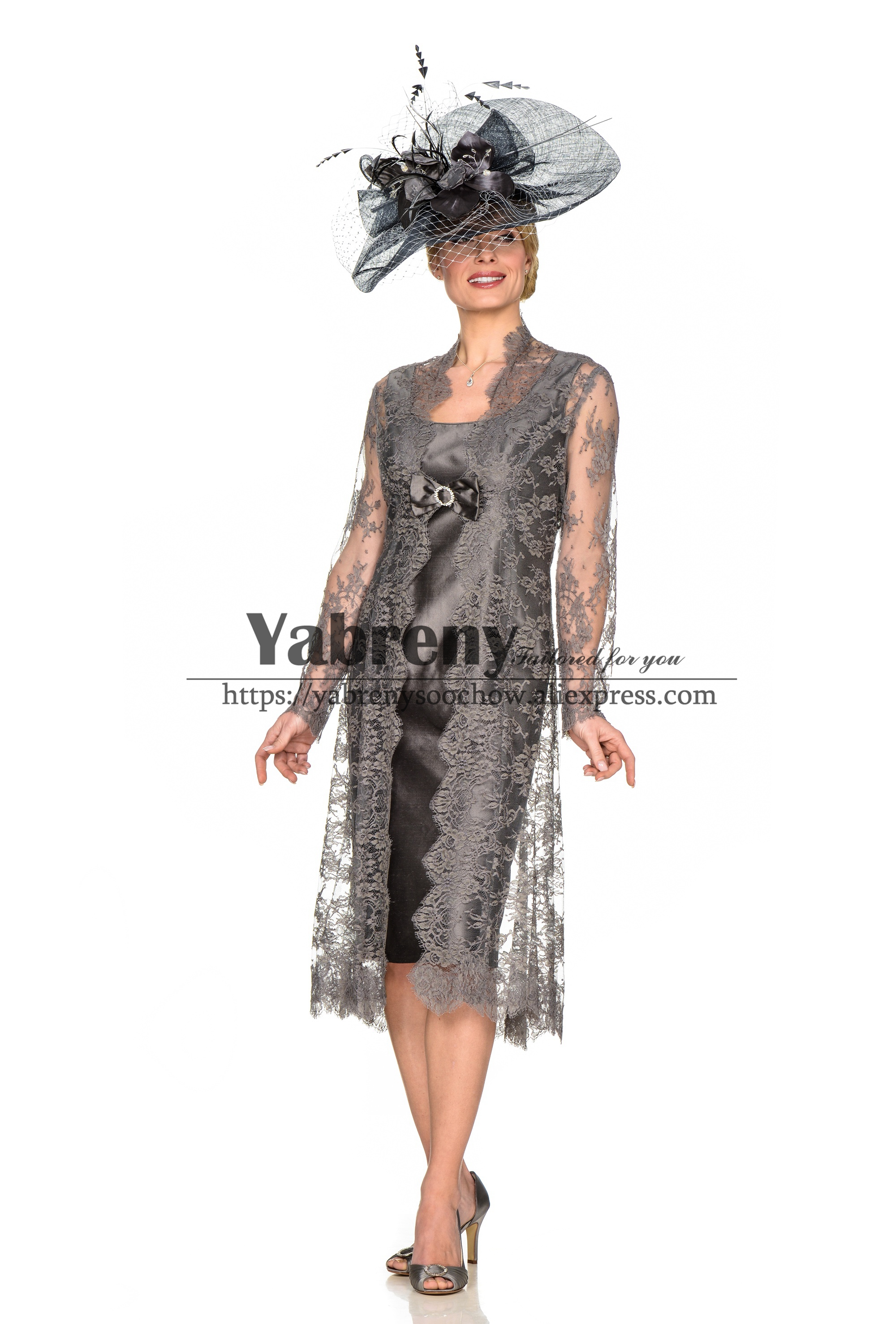 Elegant Gray Mother Of The Bride Dress Outfit With Jacket Knee-length