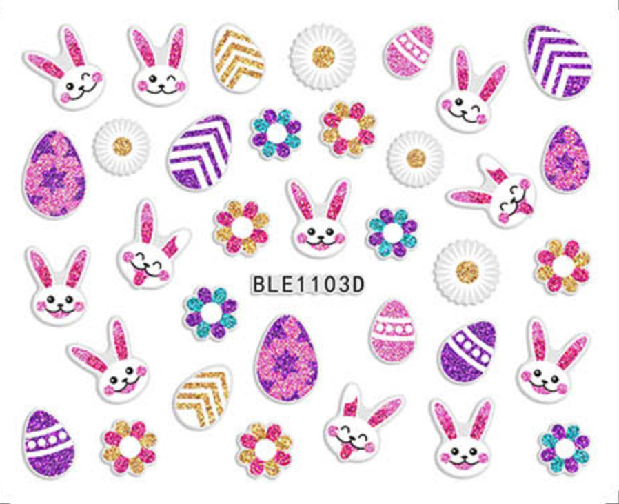 BLE1095D-1106D Easter Series 3D Suspender Strap Glue Nail Sticker Bunny Nail Sticker Children Stickers