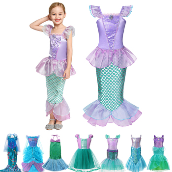 Girls Little Mermaid Dress Kids Clothes Fancy Sea Princess Party Costume Mermaid Princess Role Playing Frocks for Baby Girl princess poppy mermaid princess