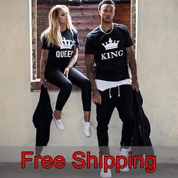 Couple Summer Funny Women T-Shirts KING QUEEN Letter Printed  T-shirts Couples Lovers Cotton short sleeve O Neck Tops