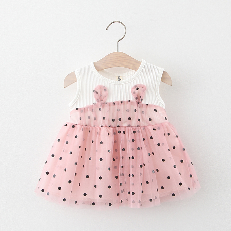 Cute Baby Dresses For Girls 1st Year Birthday Party Baptism Dress Cotton Tulle Dot Print Newborn Infant Dress Baby Girl Clothes