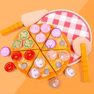 Image 4 - 27 sztuk Pizza drewniane zabawki jedzenie gotowanie symulacja zastawa stołowa dzieci kuchnia udawaj zagraj w zabawkę owoce warzywa z zastawą stołową