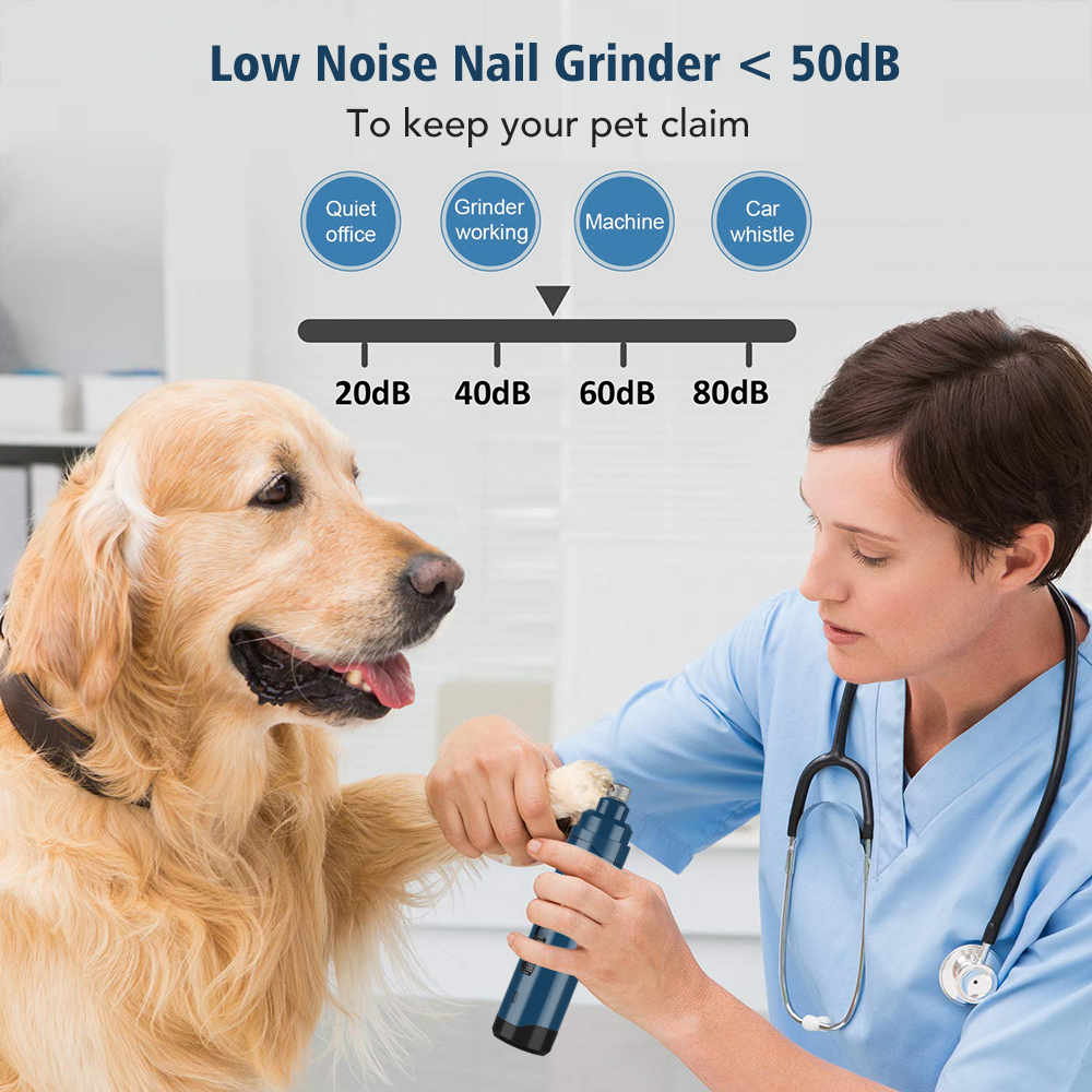 Pet Nail Grinder USB Rechargeable Painless Dog Nail Trimmer Quiet Electric Dog Cat Paws Nail Clippers Grooming Scissors File