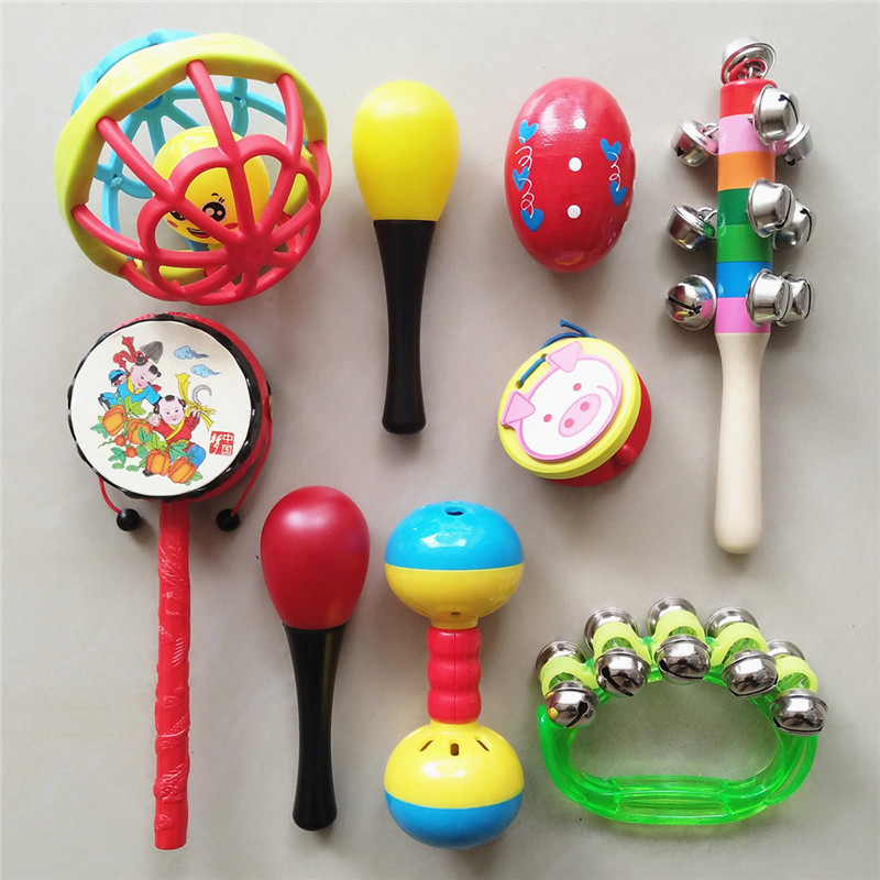 Infant Rattle-drum 0-1-Year-Old Baby Instrument Traditional Wood Sheepskin Rattle Shou Yao Gu BABY'S Rattle