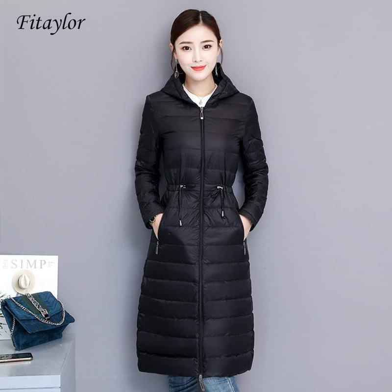 Fitaylor Winter Women Duck Down Jacket Medium Long Slim Hooded Parkas 90% Ultra Light Down Coat Casual OL Outwear