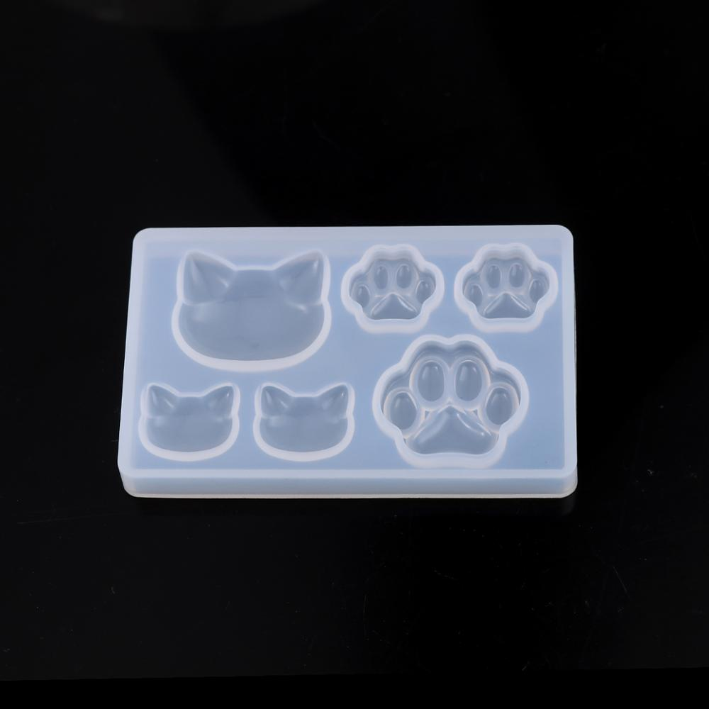 Doreen Box Silicone Resin Mold For Jewelry Making Cat Animal Paw Claw White Kawaii Jewelry Accessories 7.6cm X 4.8cm, 1 Piece