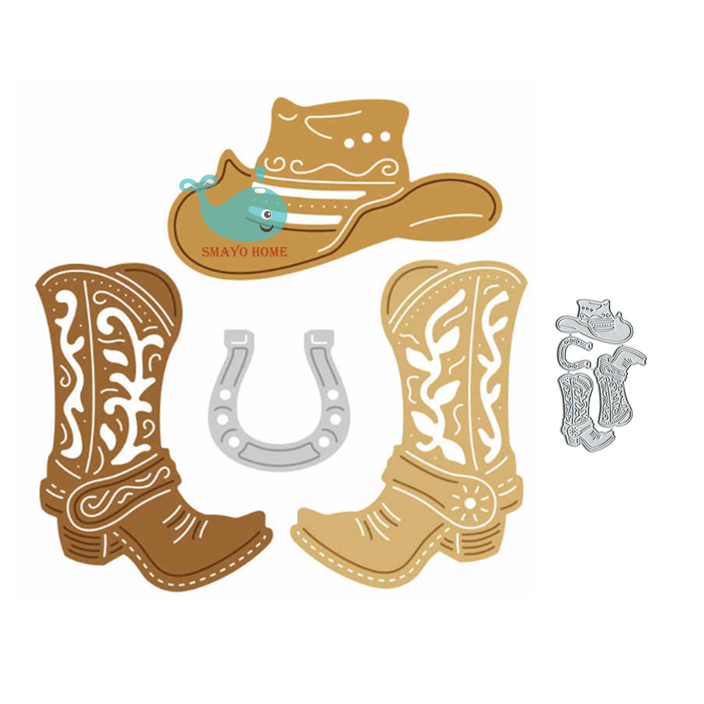 Cowboy Boots And Hat Metal Cutting Dies Scrapbooking Stencil For Album Paper DIY Gift Cards Decoration Embossing Mold Dies New
