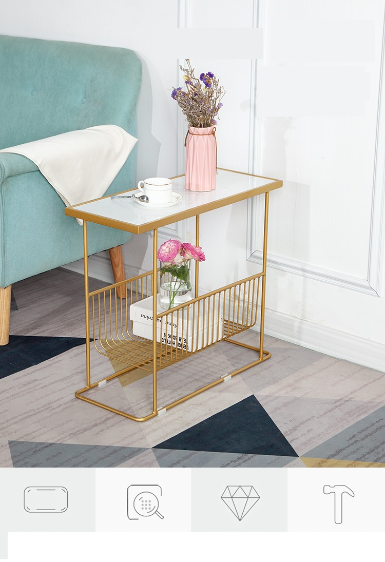 US $149.99  Marble side table Modern minimalist living room sofa side  cabinet small side table light luxury mobile sofa side table on AliExpress