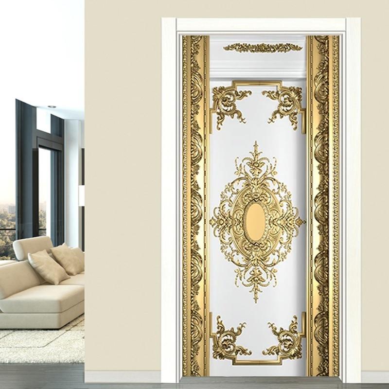 Self-Adhesive Door Sticker European Style Luxury Gold Carvings Wallpaper Living Room Bedroom Poster Mural PVC Waterproof Sticker