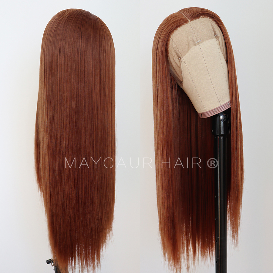 maycaur Synthetic Lace Front Wig Silky Straight 30B Heat Resistant Synthetic Replacement Hair Wigs for Fashion Women (4)