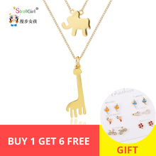 Strollgirl 925 Sterling Silver Double Chain Gold Color Lovely Elephant Giraffe Pendants & Necklaces For Women Fashion Jewelry