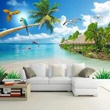 Personalizado 3d foto papel de parede céu azul nuvens brancas praia arenosa seascape grande mural fresco sala estar quarto decoração da parede pintura