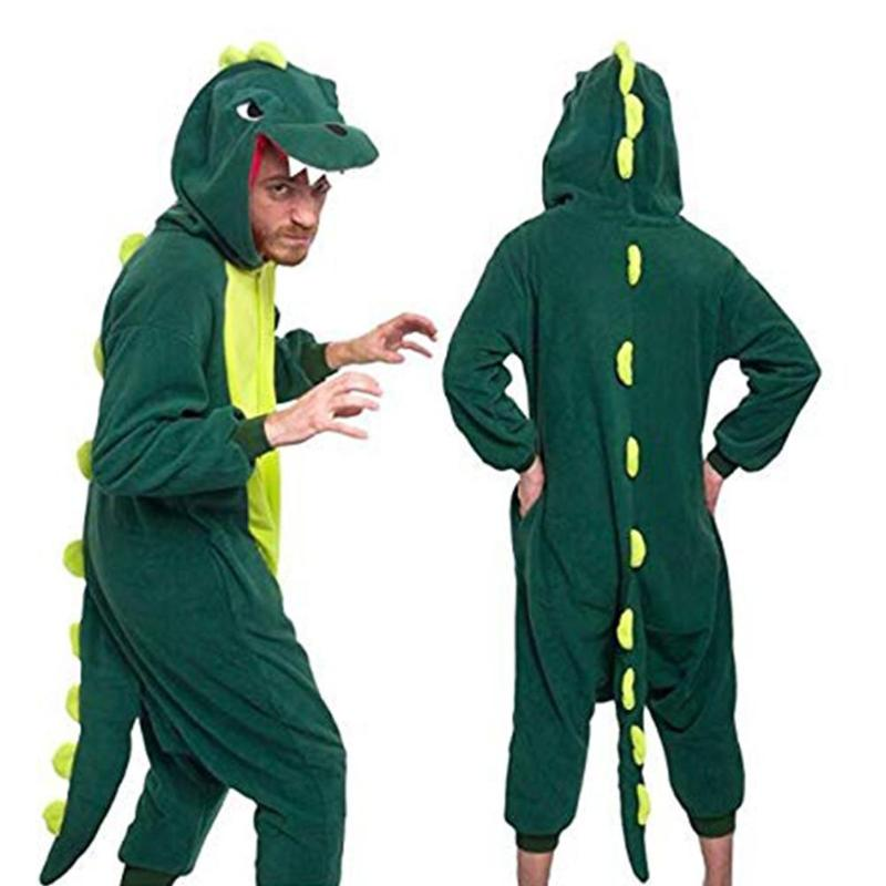 Dinosaur Shaped Flannel Lounge Onesies Halloween Cosplay Jumpsuit Hooded Pajama Women Men Hooded Sleepwear Long Sleeve Bodysuit