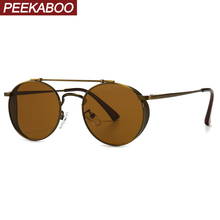 Peekaboo mens shield sunglasses punk retro brown black metal