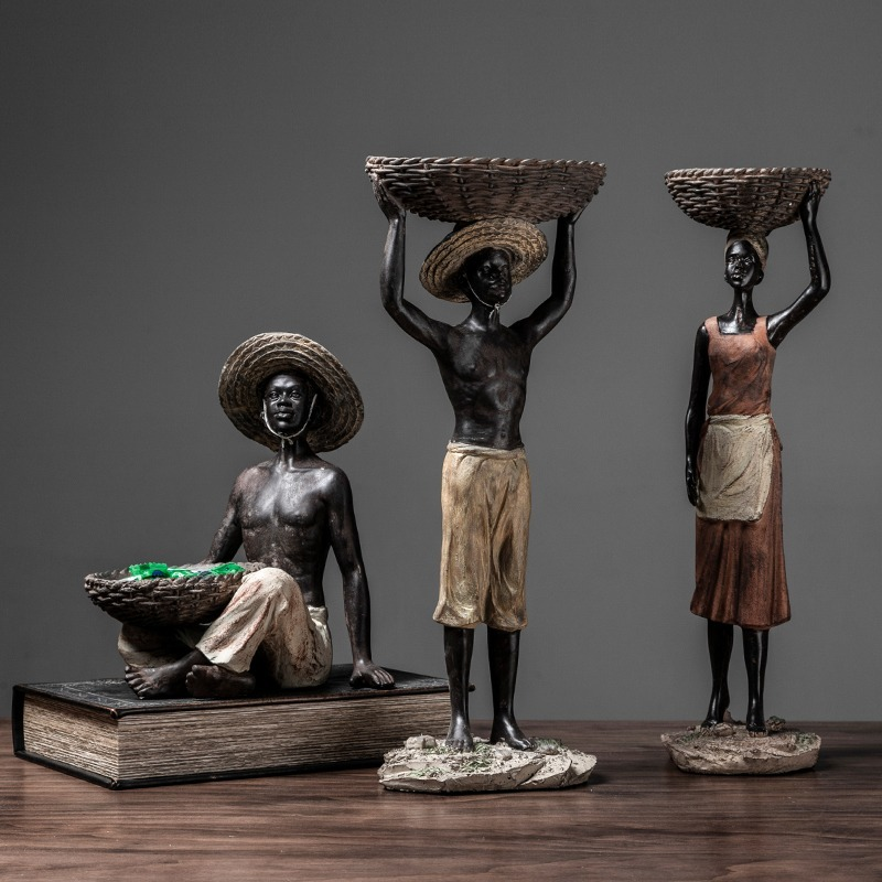 Hardworking African Character Holding A Basket Statue Room Embellishment Decor Craft Hobby Adornment Accessories Furnishing