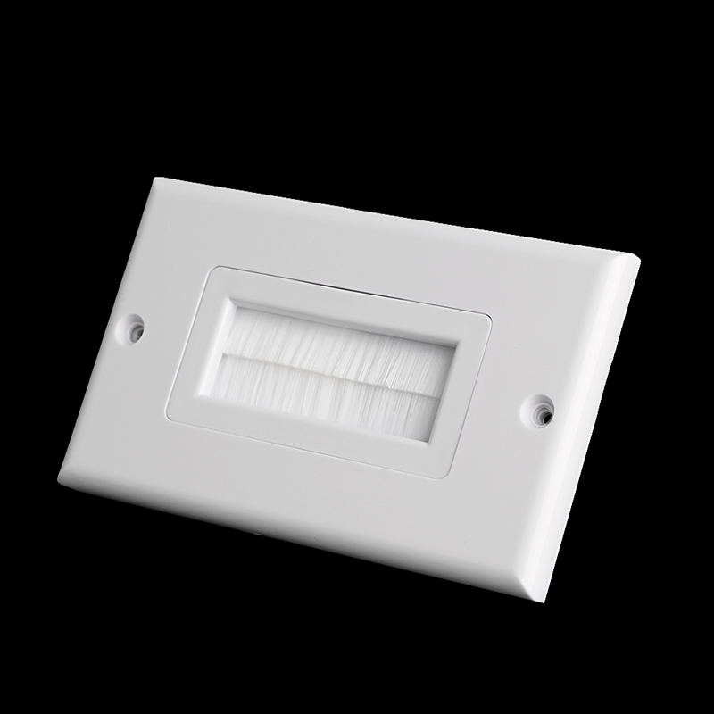 1 Single Gang Bristles Brush Wall Plate Port Insert Cover Outlet Mount Panel