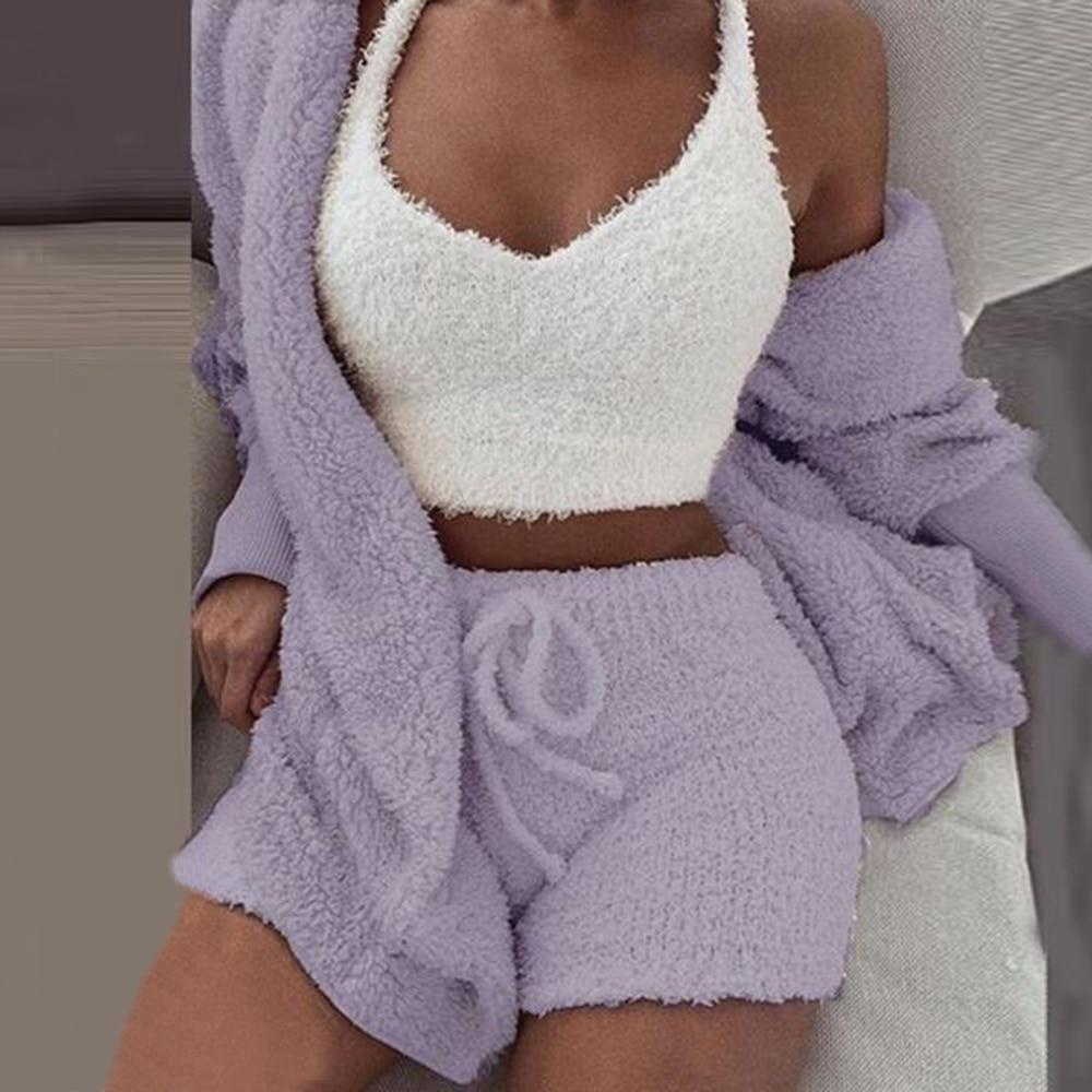 Women Tracksuit Plush 3 Pieces Set Sweatpants Sweatshirts Sweatsuits Jackets Crop Top Shorts Suit Sports Suits Jogging Femme