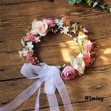 wedding headband head flowers fake rattan Artificial Flower garland Wreath and Wedding Hair headwear