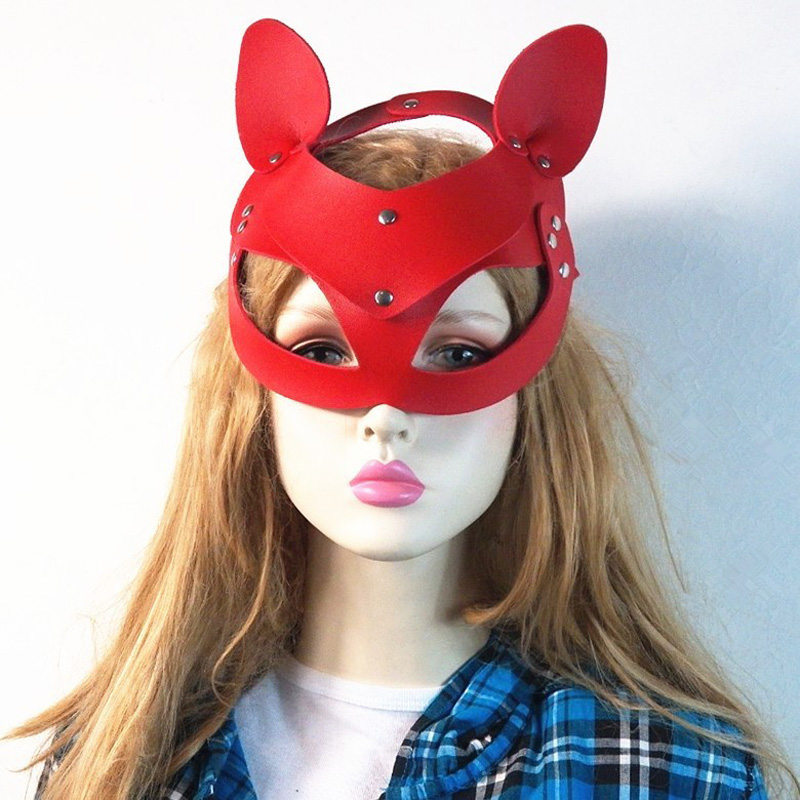 COLEMJE New Fashion Metal Rivet <font><b>Cat</b></font> <font><b>Masks</b></font> <font><b>Sexy</b></font> Women Half Face Ear <font><b>Mask</b></font> Halloween Party Special Head <font><b>Mask</b></font> Cover Cosplay Costume image