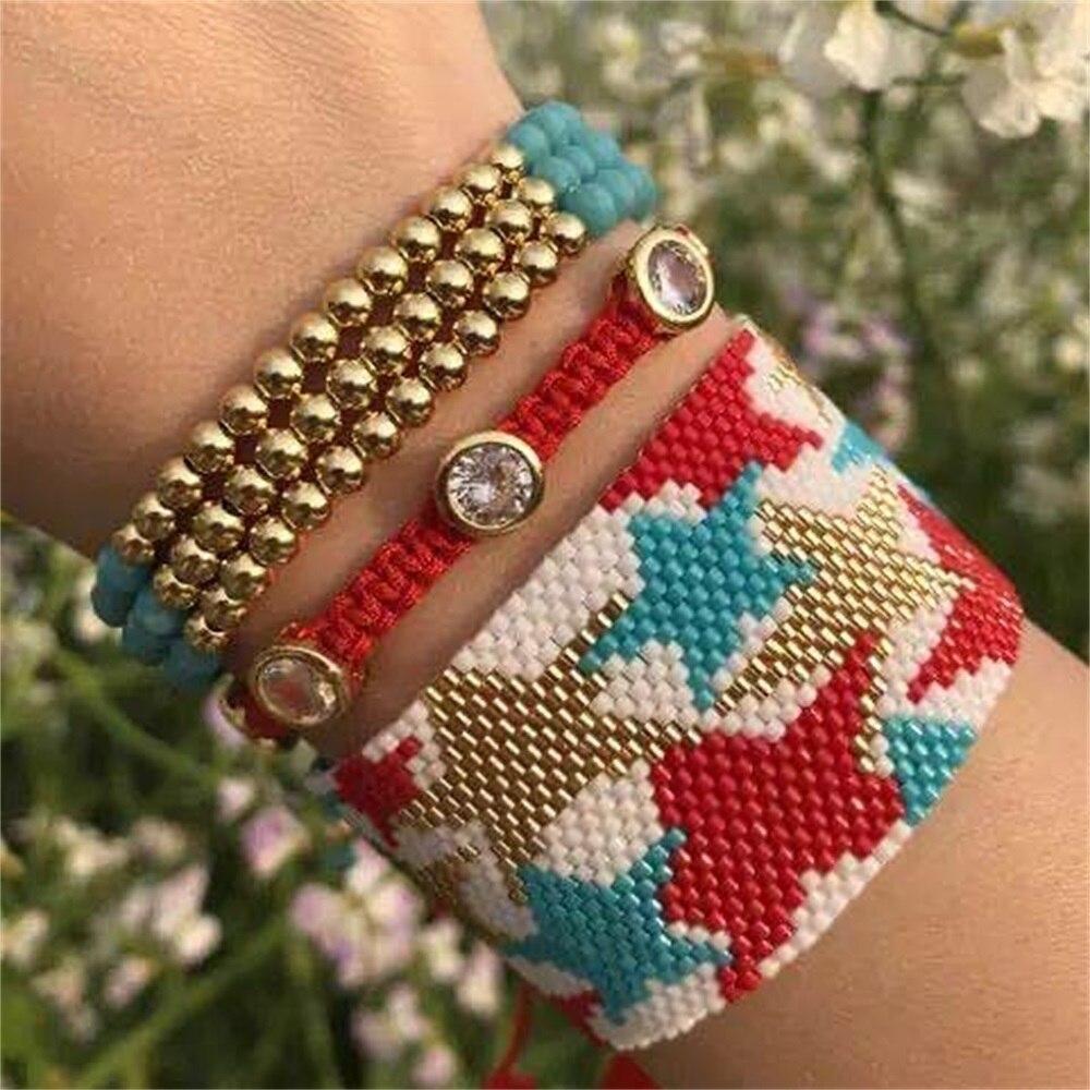 ZHONGVI MIYUKI Star Bracelets Fashion Boho Pulseras Mujer 3pcs One Set Heart Bangles Handmade Gold Copper Bead Crystal Jewelry(China)