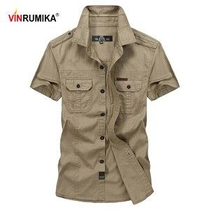 Image 1 - VINRUMIKAขนาดใหญ่M 5XL 2020ชายฤดูร้อนสบายๆแขนสั้นชายเสื้อผ้าฝ้าย100% สีกากีเสื้อArmyเสื้อผ้าสีเขียว