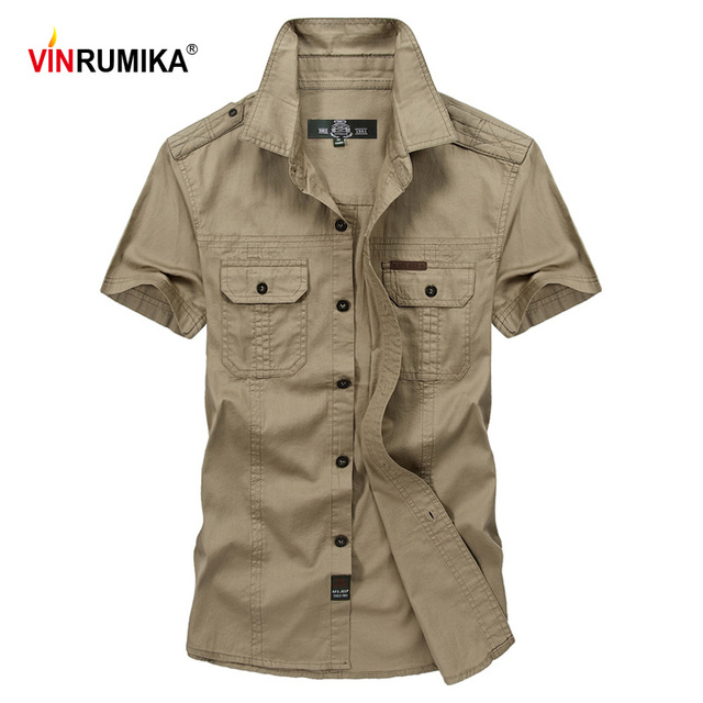 VINRUMIKAขนาดใหญ่M 5XL 2020ชายฤดูร้อนสบายๆแขนสั้นชายเสื้อผ้าฝ้าย100% สีกากีเสื้อArmyเสื้อผ้าสีเขียว
