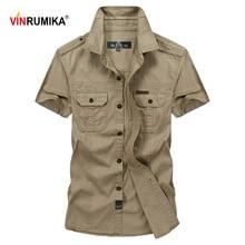 VINRUMIKA grande taille M 5XL 2020 été hommes décontracté marque à manches courtes chemise homme 100% pur coton kaki chemises armée vert vêtements