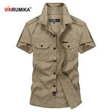 Vinrumika tamanho grande M 5XL 2020 verão casual marca masculina camisa de manga curta homem 100% puro algodão cáqui camisas exército verde roupas