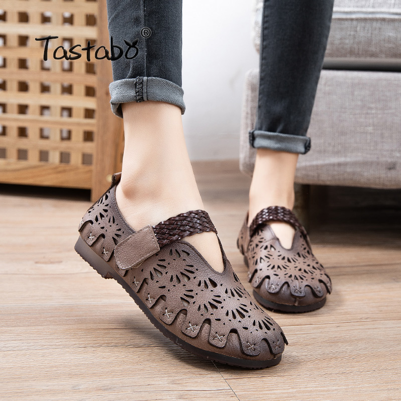 Tastabo Genuine Leather Handmade Women Shoes Casual Shoes Hollow Everyday Shoes Sand White S2521 Asakuchi Soft-soled Mom Shoes