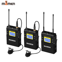 MAMEN WMIC 01 UHF Dual Channel Wireless Microphone System 2 Transmitters 1Receiver 50 Channels Microphone for Camera Phone Video